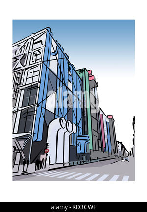 Illustration of the Pompidou Centre in the Beaubourg area of Paris, France - Stock Image