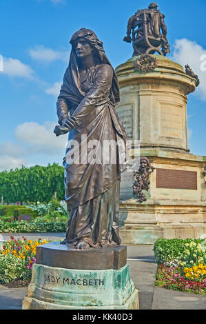 Statue of Lady Macbeth, part of the Gower Memorial , in Bancroft Gardens Stratford upon Avon, Warwickshire. - Stock Image