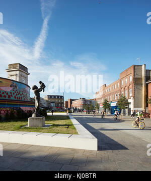 Reconfigured intersection with bicycle lane at Stockwell War Memorial. Stockwell Framework Masterplan, London, United - Stock Image