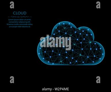 Cloud low poly model, weather in polygonal style, cloud server wireframe vector illustration made from points and lines on a black background - Stock Image