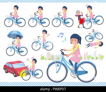 A set of Childminder women riding a city cycle.There are actions on manners and troubles.It's vector art so it's easy to edit. - Stock Image