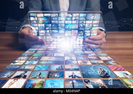 video hosting website. movie streaming service. digital photo album. - Stock Image