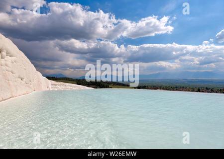 Pamukkale in Western Turkey taken in April 2019rn' taken in hdr - Stock Image