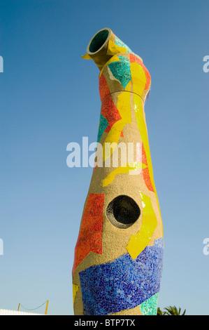 Woman and Bird Sculpture by Joan Miro, Barcelona, Spain - Stock Image