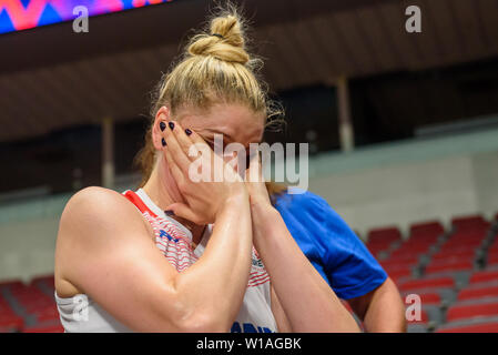 Riga, Latvia. 1st of July, 2019. Jophannah Leedham , during Great Britain's Women's basketball team celebrates win against Montenegro, during qualification match to 1/4 final at  FIBA Women's Eurobasket 2019 in Riga , Latvia. Credit: Gints Ivuskans/Alamy Live News - Stock Image