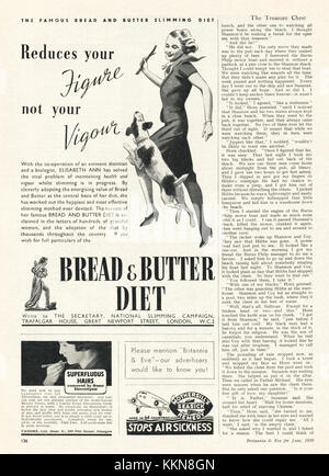 1939 UK Magazine Bread and Butter Diet Advert - Stock Image
