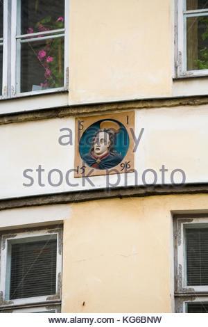 Portraits, saints, facade, medieval, building, Europe, Tallinn, Estonia, old, medieval Tallinn Old Town - Stock Image