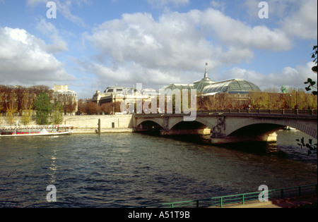 View of the Grand Palais Overlooking the River Seine, Paris, France - Stock Image