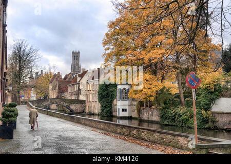 Wet autumn day in Bruges, Belgium, Europe, EU. Quaint Medieval city in Flanders - Stock Image