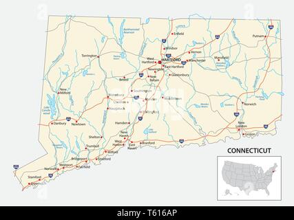 road map of the US American State of Connecticut - Stock Image