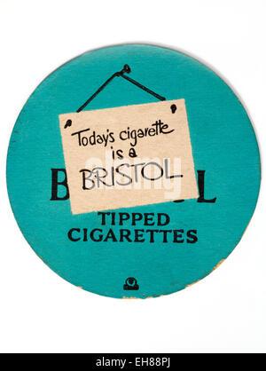 Vintage Beermat Advertising Bristol Cigarettes - Stock Image