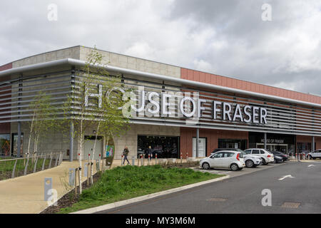 The frontage of the department store House Of Fraser at Rushden Lakes, an out of town shopping centre, Northamptonshire, UK - Stock Image