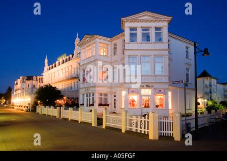Usedom Ahlbeck promenade Hotel twilight - Stock Image