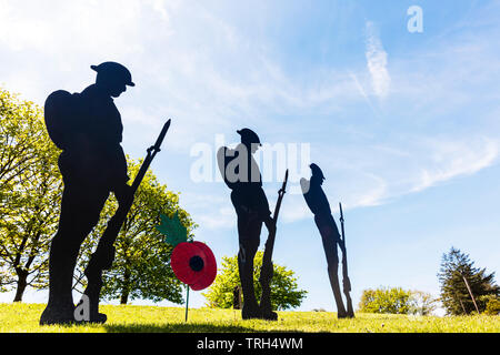 Lest We Forget, WW2 tribute, soldiers, fallen, Princetown Devon tribute, WW2 soldiers, D-Day tribute, WW2 remembrance, remembrance, remembrance UK - Stock Image