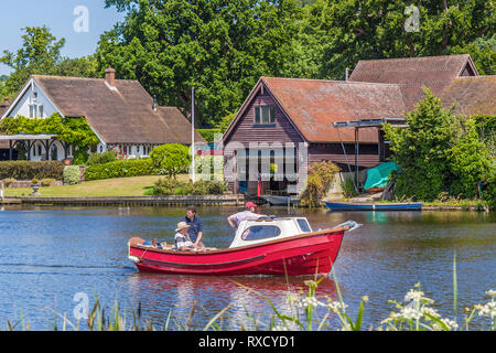 Boat On The River,  Henley On Thames, Oxfordshire, UK - Stock Image