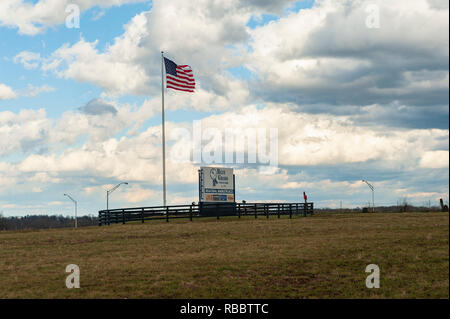 American Flag at the Bluegrass Stock Yards Sign - Stock Image