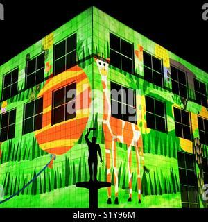 Enlighten Canberra light projections illuminating Questacon - Stock Image