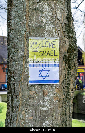 Love Israel flyer with smiley face pinned to a tree with the star of David below - Stock Image