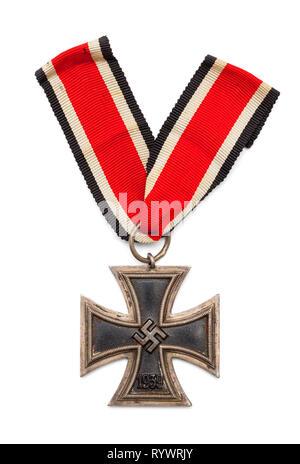 World War Two Nazi Iron Cross Isolated on White. - Stock Image