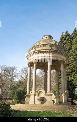 Corinthian style drinking fountain in Roundhay Park, Leeds, West Yorkshire, England, UK - Stock Image