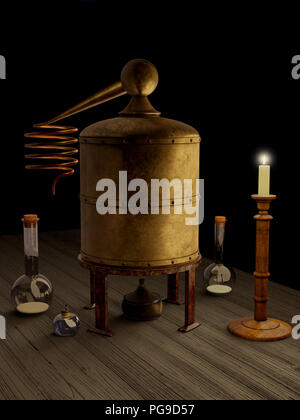 Alchemy Laboratory Still and Equipment - Stock Image