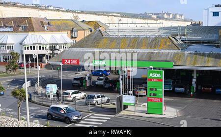 ASDA supermarket petrol station garage in Brighton Marina - Stock Image