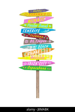 bright colorful wooden directional beach signs with text on pole, isolated on white background - Stock Image