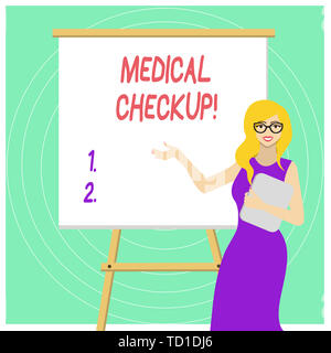 Handwriting text Medical Checkup. Conceptual photo thorough physical examination includes variety of tests White Female in Glasses Standing by Blank W - Stock Image