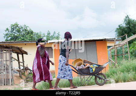 Adzopé, côte d'ivoire - June 10, 2017: two young African women, one in black tee-shirt and loincloth pushes a full wheelbarrow and the other in a loin - Stock Image