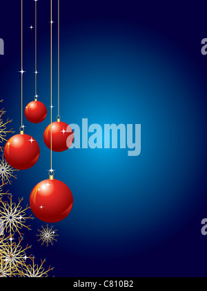 holiday background with baubles and snowflakes vector illustration - Stock Image
