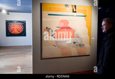 Prague, Czech Republic. 18th Jan, 2019. Exhibition 'Force of Act. Jan Palach and Jan Zajic In Art Between 1969 and 2009' was opened in the Museum Kampa in Prague, Czech Republic, on January 18, 2019. On the right side is seen painting called 'Lightheader (Stairs)' by Adriena Simotova. Credit: Vit Simanek/CTK Photo/Alamy Live News - Stock Image