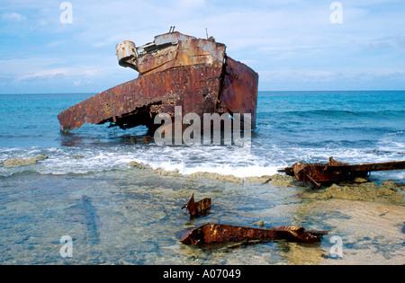 Shipwrecked Tanker, Los Roques, Venezuela - Stock Image