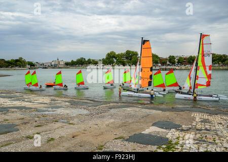 Sailing course for children in La Rochelle, Charente Maritime, France - Stock Image