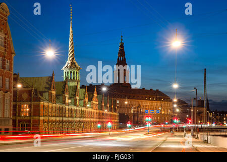 Boersen and Christiansborg in Copenhagen, Denmark - Stock Image