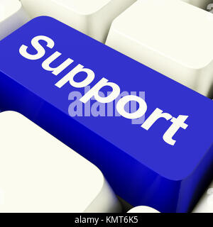 Support Computer Key In Blue Showing Help And Guidance - Stock Image