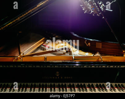 Steinway Grand D (Hamburg) concert grand piano during recording session. Two Neumann D-01 digital microphones. - Stock Image