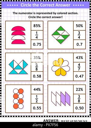 Math skills training visual puzzle. Circle the correct answer. Find the number equivalent for each pictorial fraction representation. Answer included. - Stock Image