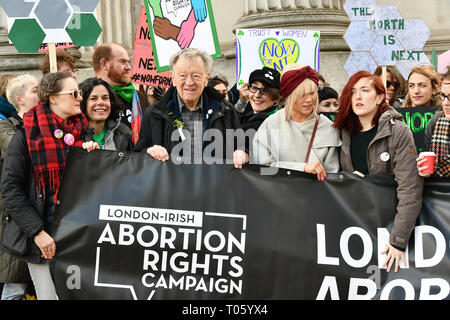 London, UK . 17th Mar, 2019. The colourful St Patrick Parade days 2017 was watched by thousands who line up the streets from Piccadilly to Trafalgar Square where speeches were made and a show with music and dane was given to the thousands who packed the square to celebrate St Patrick day 2019 on 17 March 2019, London, UK. Credit: Picture Capital/Alamy Live News - Stock Image