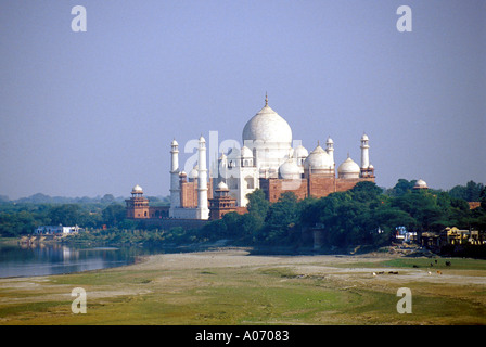 Taj Mahal from the Red Fort Agra, Rajasthan, India - Stock Image