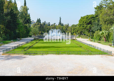 Athens, Greece - April 28 2019: The Zappeion Hall gardens and fountain - Stock Image
