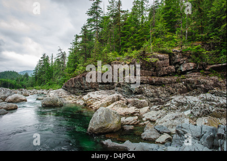 Small river on Sutton Pass, Vancouver Island, Canada - Stock Image