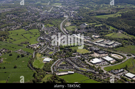 aerial view of Crossflatts looking SE down the A650 Airevalley Road towards Bingley, West Yorkshire, UK - Stock Image