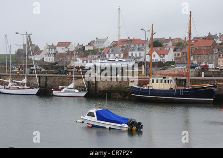 The harbour in the Fife fishing port of St Monans - Stock Image