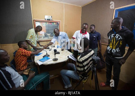 Yako town, Burkina Faso : Educational radio programme on nutrition and food security  being broadcast live at  Natigmbzanga Radio. - Stock Image