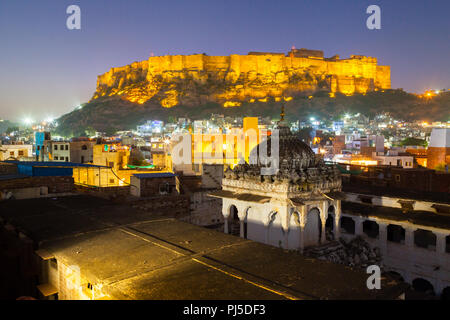 Jodhport fort at night, India - Stock Image