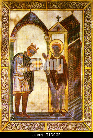 King Athelstan of the Anglo Saxons and later the English (c. 894 - 939), portrait painting - Stock Image