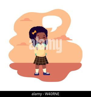 school girl with bag talk bubble outdoors background vector illustration - Stock Image