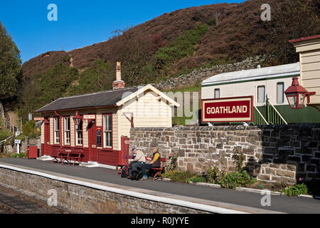 People waiting for a train at the railway station Goathland North York Moors National Park North Yorkshire England UK United Kingdom GB Great Britain - Stock Image