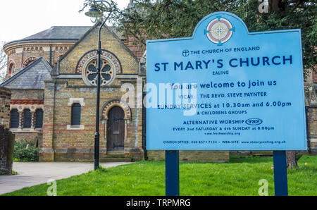 Right side of historic, Grade II listed, St Mary's Church (Church of England denomination), with information board. Ealing, London, England, UK. - Stock Image
