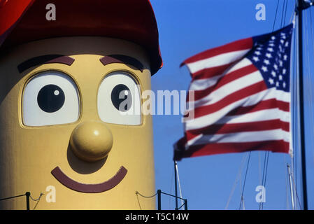 Theodore Too, is a large-scale imitation tugboat based on the fictional television character Theodore Tugboat, captured at Key West, Florida, USA. - Stock Image
